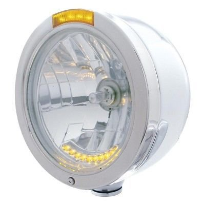 BULLET Half-Moon Headlight, 10 LED H4 Bulb, Turn Signal - Amber LED/Amber Lens