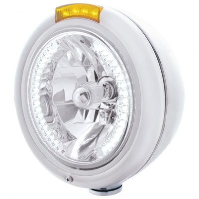 Classic Headlight H4 Bulb White LED & Dual Turn Signal - Amber LED/Amber Lens
