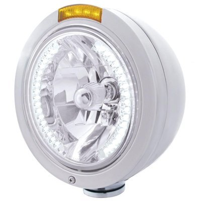 Bullet Classic Headlight H4 Bulb White LED & Turn Signal - Amber LED/Amber Lens