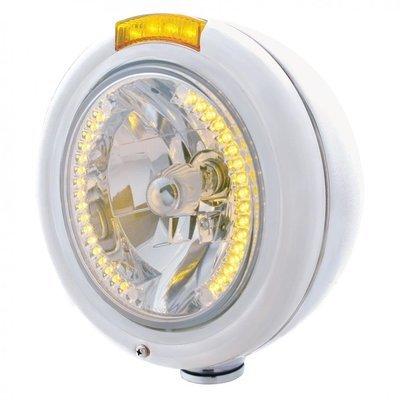 Classic Headlight H4 Bulb 34 LED & Dual Turn Signal - Amber LED/Amber Lens