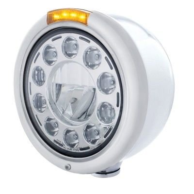 CLASSIC LED Half-Moon Headlight, Stainless Steel, LED Turn - Amber Lens