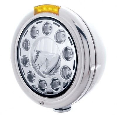 CLASSIC LED Headlight, Stainless Steel, LED Turn, Single Function - Amber Lens
