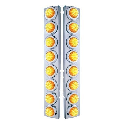 Peterbilt Air Cleaner Bracket Beehive Lights & Bezels - Amber LED/Amber Lens