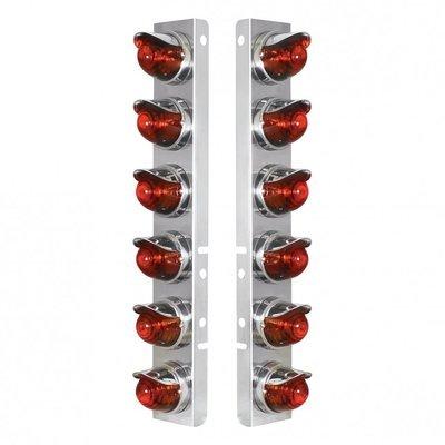 Peterbilt Air Cleaner Bracket Glass Beehive Lights & Visors - Dark Amber Lens