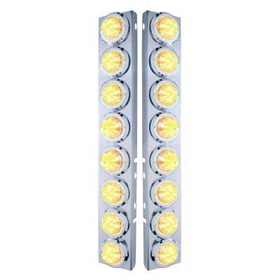 Peterbilt Air Cleaner Bracket Beehive Lights & Bezels - Amber LED/Clear Lens