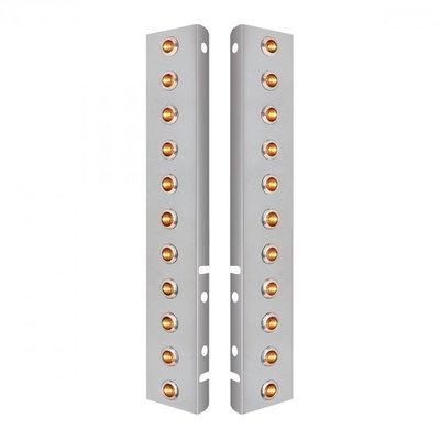Peterbilt Air Cleaner Bracket Dual Mini Lights & Bezels - Amber LED/Clear Lens