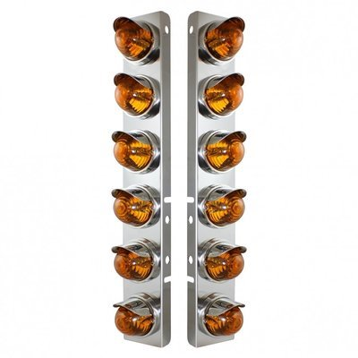 Peterbilt Air Cleaner Bracket w/ 12 Glass Beehive Lights & Visors - Amber Lens