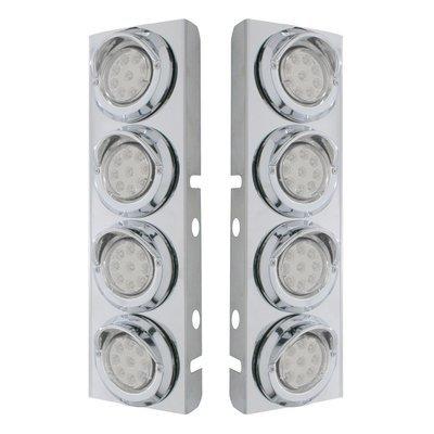 Peterbilt Air Cleaner Bracket w/ 9 LED Lights & Visors - Amber LED/Clear Lens