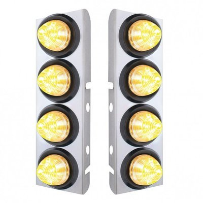 Peterbilt Air Cleaner Bracket w/ 8 LED Lights & Grommets - Amber LED/Clear Lens