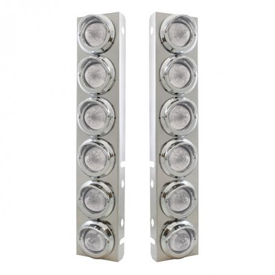Peterbilt Air Cleaner Bracket w/ Beehive Lights & Visors - Amber LED/Clear Lens