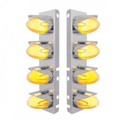 Peterbilt Air Cleaner Bracket w/ LED Lights & Visors - Amber LED/Clear Lens