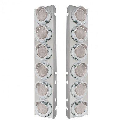 Peterbilt Air Cleaner Bracket w/ Lights & Visors - Amber LED/Clear Lens