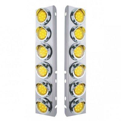 Peterbilt Air Cleaner Bracket w/ Lights & Visors - Amber LED/Amber Lens