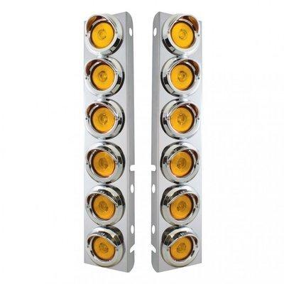 Peterbilt Air Cleaner Bracket w/ Profile Lights & Visors - Amber LED/Amber Lens