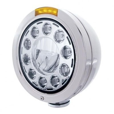 BULLET LED Headlight, Stainless Steel, LED Turn Single Function - Amber Lens