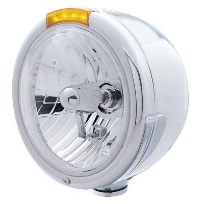 CLASSIC Half-Moon Headlight, H4 Halogen Bulb, Stainless, LED Turn - Amber Lens