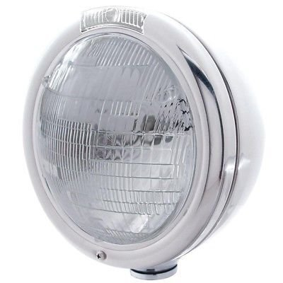 CLASSIC Headlight, 6014 Bulb, Stainless Steel, Incandescent Turn - Clear Lens