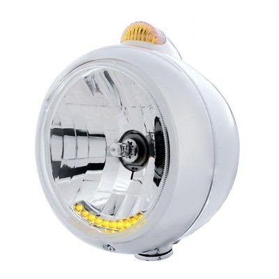 GUIDE Headlight, Chrome, 10 LED H4 Bulb, Turn Signal - Amber LED/Amber Lens
