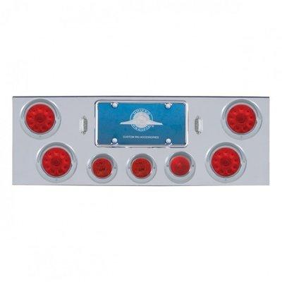 Rear Center Panel w/ Four 10 LED & Three 13 LED Lights & Visors - Red Lens