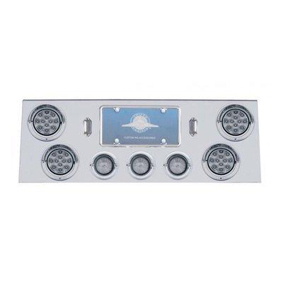 Rear Center Panel w/ Four 12 LED & Three 13 LED 2 Lights & Visors - Clear Lens