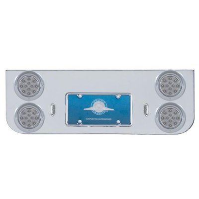 Rear Center Panel w/ Four 12 LED Reflector Lights & Visors - Red LED/Clear Lens