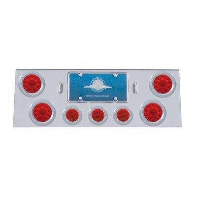 Stainless Rear Center Panel w/ 10 LED Lights & Bezels - Red LED/Red Lens