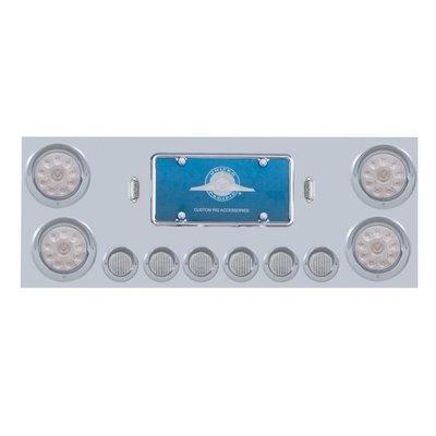 Stainless Rear Center Panel w/ 10 LED Lights & Visors - Red LED/Clear Lens