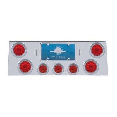 Stainless Rear Center Panel w/ Four 10 LED Lights & Visors - Red LED/Red Lens