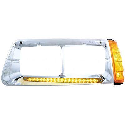 Headlight Bezel w/ 19 LED Turn Signal Amber Lens - Driver Side for Freightliner FLD