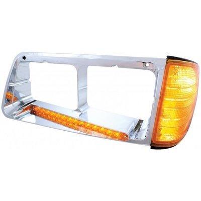 Freightliner FLD Headlight Bezel w/ LED Turn Signal Amber Lens - Driver Side