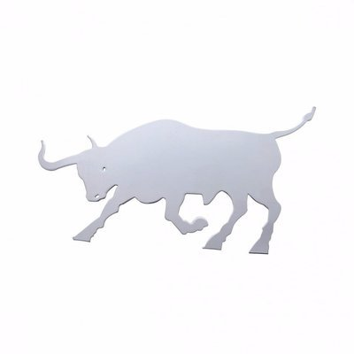 Raging Bull Cutout for Mud Flap Hangers, Stainless Steel - Facing Left