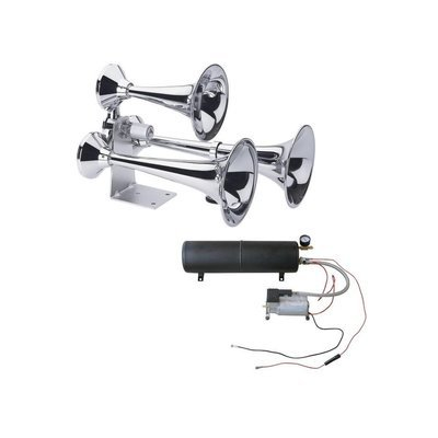 Chrome Deluxe 3 Trumpet Heavy Duty Train Horn Bundle - Classic Style
