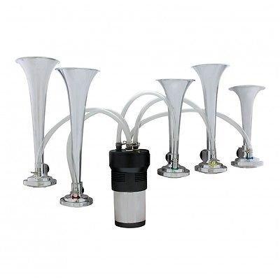 Dixie Tune 5 ABS Air Horn Trumpets, Mechanical Air Powered, Chrome