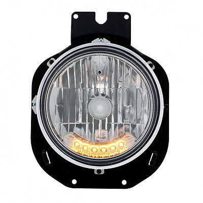 Crystal Headlight w/ 6 Amber Auxiliary LED for 1996-2005 Freightliner Century