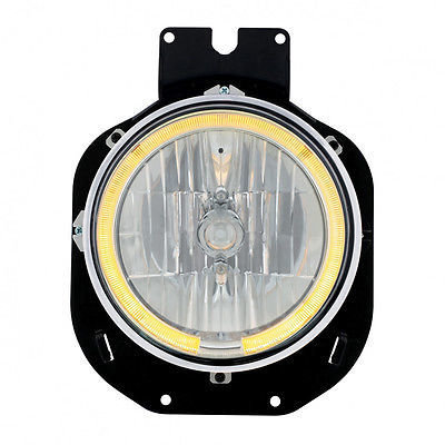Crystal Headlight w/ LED Halo Ring - Amber for Freightliner Century 1996-2005