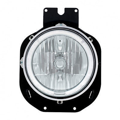 Crystal Headlight w/ LED Halo Ring - White for Freightliner Century 1996-2005