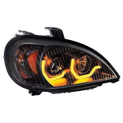 Projection Headlight w/ Dual LED Light, Blackout-Passenger for Freightliner Columbia
