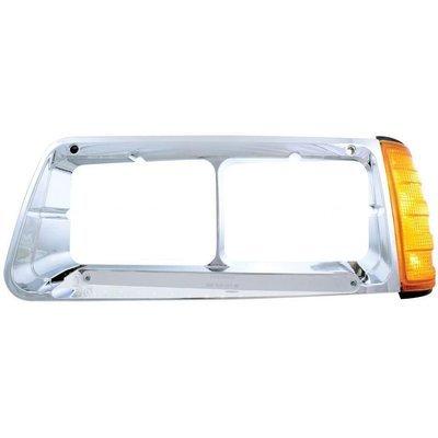 Headlight Bezel w/ LED Turn Signal Chrome Lens - Driver Side for Freightliner FLD