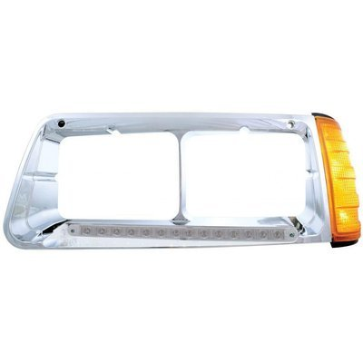 Headlight Bezel w/ LED Turn Signal Clear Lens - Driver Side for Freightliner FLD