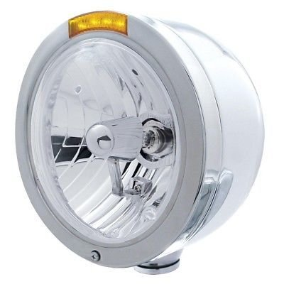 BULLET Half-Moon Headlight, H4 Halogen Bulb, Stainless, LED Turn - Amber Lens