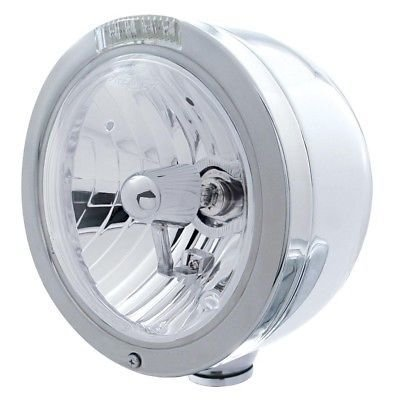 BULLET Half-Moon Headlight, H4 Halogen Bulb, Stainless, LED Turn - Clear Lens