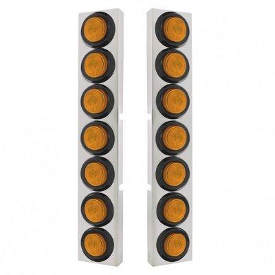 Kenworth Air Cleaner Bracket w/ 14 Lights & Grommets - Amber LED/Amber Lens