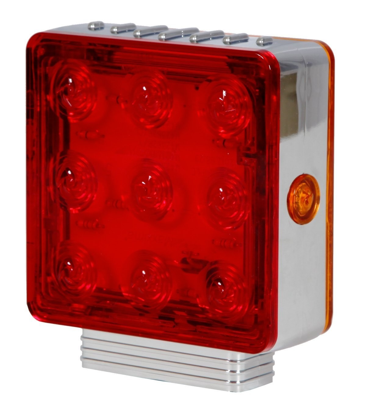 Chrome Square Pedestal Light Double Post - in Red or Clear - Left or Right