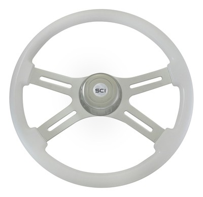 4 Spoke Chrome/White Steering Wheel