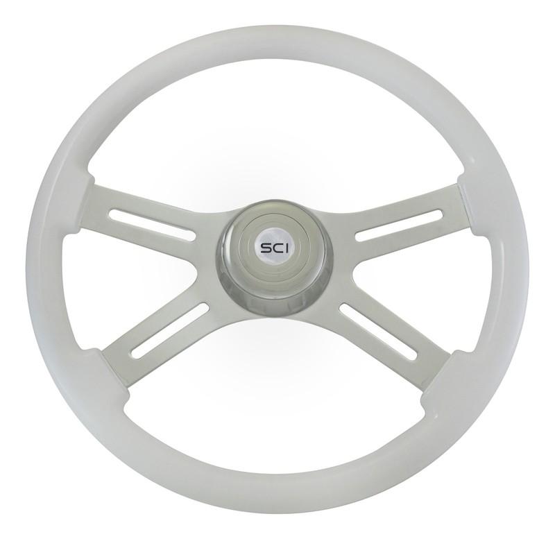 4 Spoke Chrome/White Steering Wheel