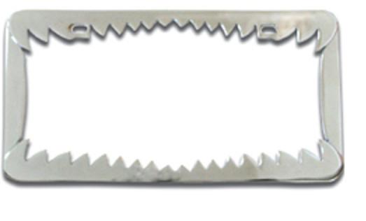 Chrome License Plate Frame Shark Teeth