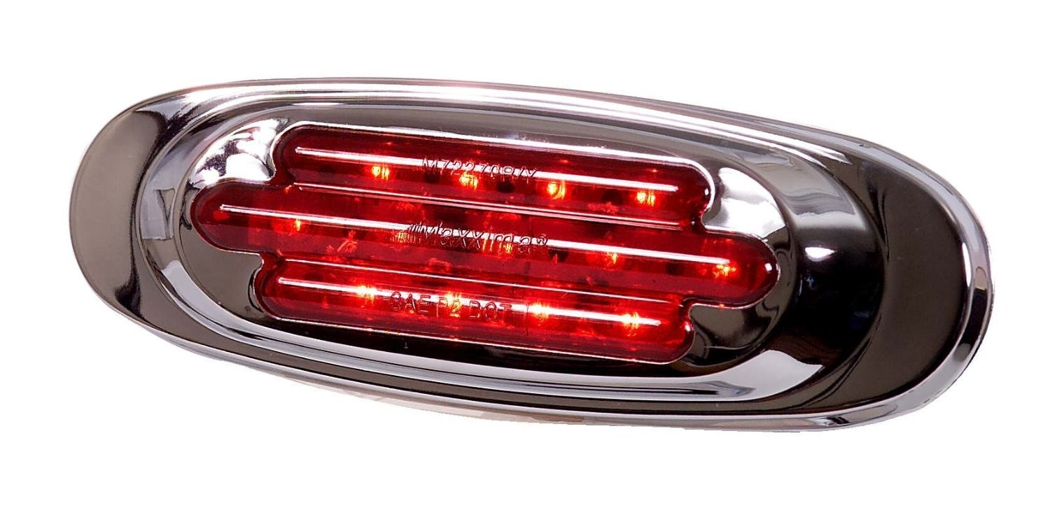 Chrome Oval Red Clearance Marker with Red or Clear Lens