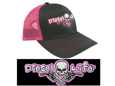 Diesel Life Snap Back Hat - Charcoal / Neon Pink