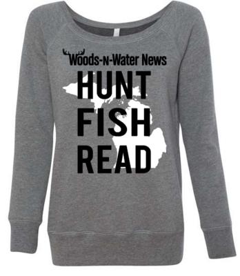 LADIES Deep Heather - Wide Neck  Sponge Fleece Raglan Sweatshirt with White and Black Screenprinted full front logo