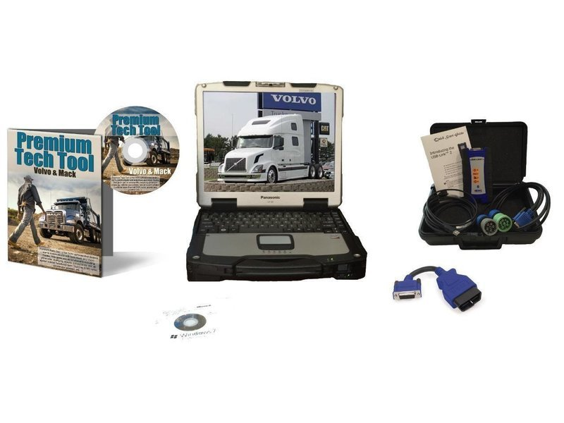 Mack & Volvo Premium Tech Tool Diesel Diagnostic Laptop Kit PTT Nexiq USB Link 2